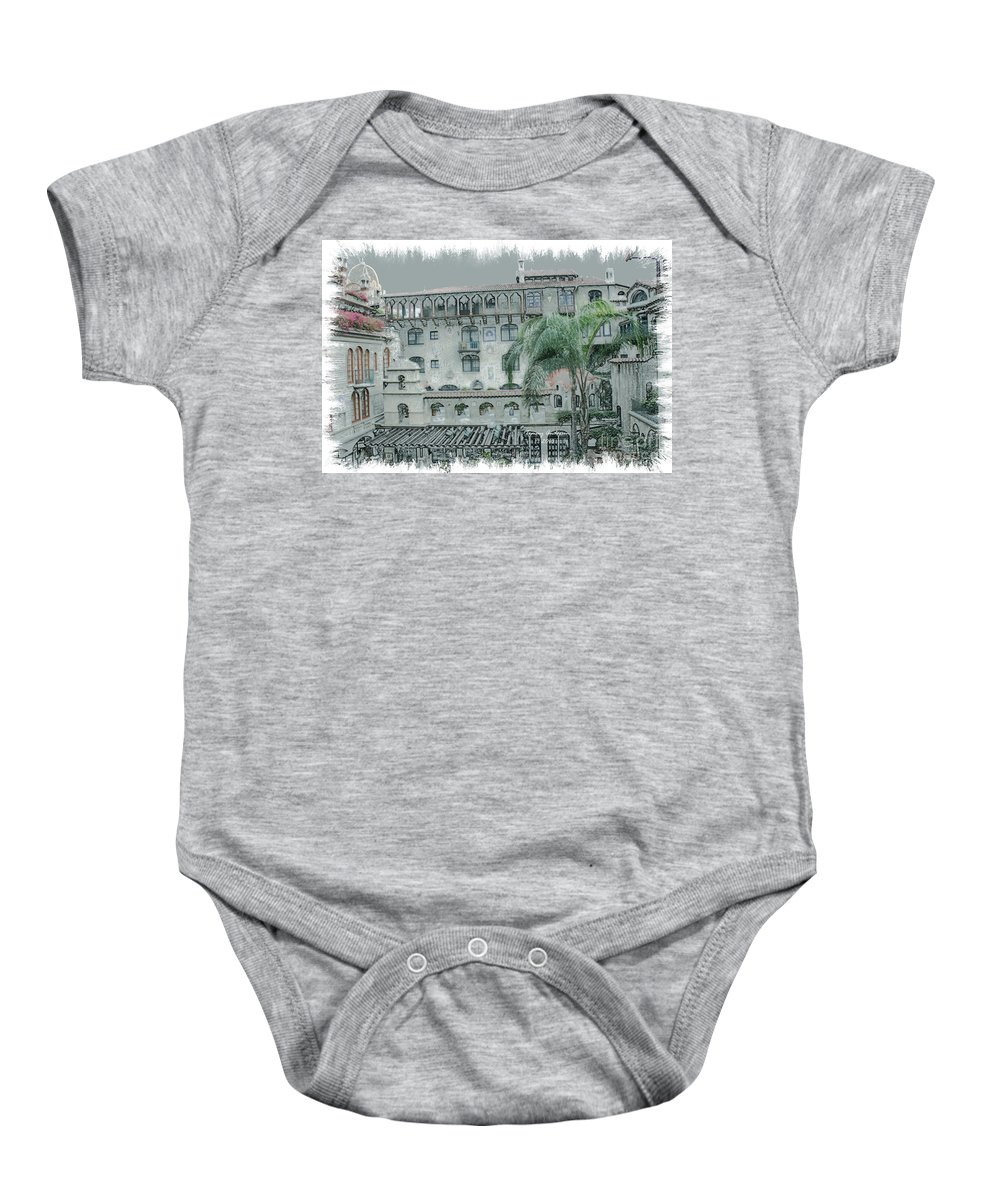 Mission Inn Baby Onesie featuring the digital art Mission Inn Court Yard by Tommy Anderson