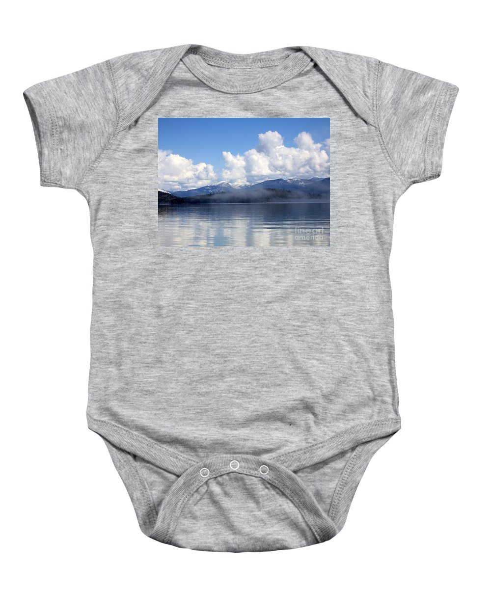 Priest Lake Baby Onesie featuring the photograph Mist Over Priest Lake by Carol Groenen