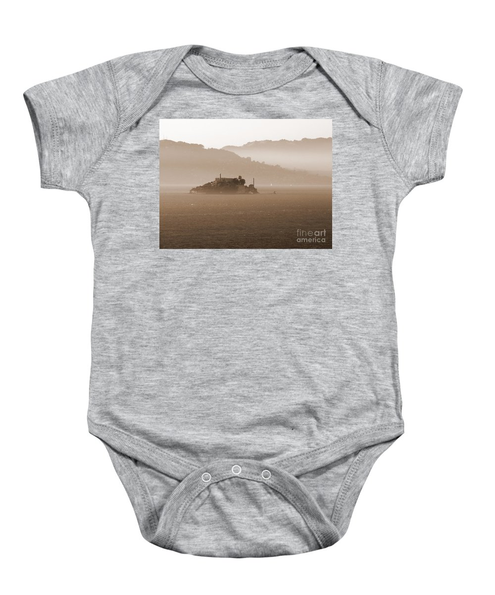 San Francisco Baby Onesie featuring the photograph Misty Alcatraz by Carol Groenen