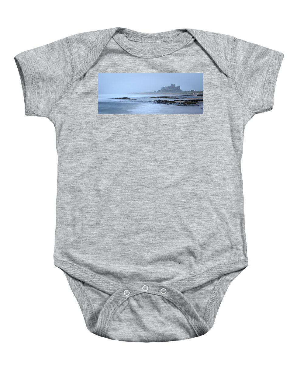 Ancient Baby Onesie featuring the photograph Misty Bamburg Castle by Chris Smith