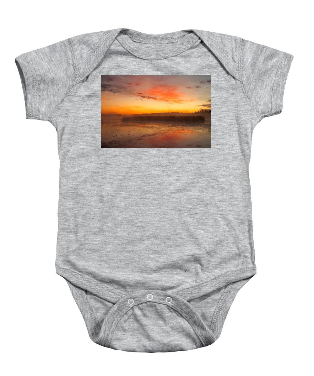 Misty Lake Baby Onesie featuring the photograph Misty Dawn#1 by Irwin Barrett