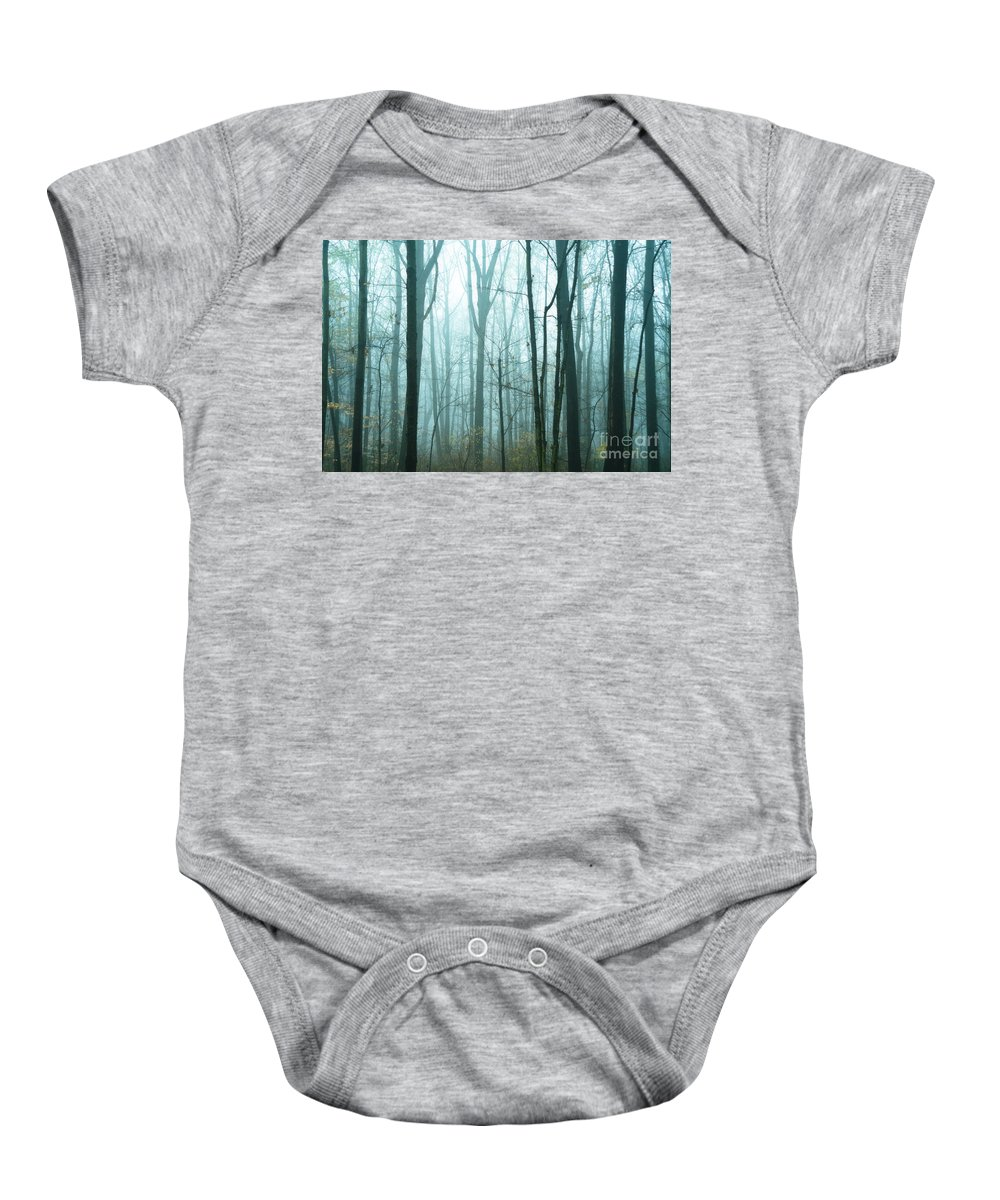 Woods Baby Onesie featuring the photograph Misty Forest by John Greim