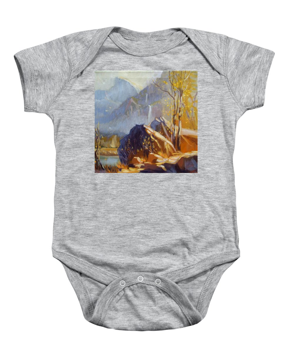 Landscape Baby Onesie featuring the painting Misty Rocks by Elena Sokolova