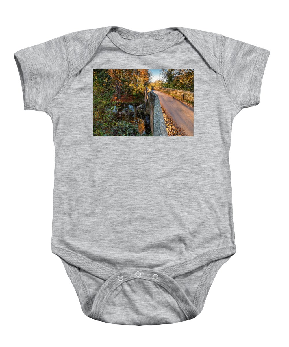 Northumberland Baby Onesie featuring the photograph Mitford Bridge Over River Wansbeck by David Head