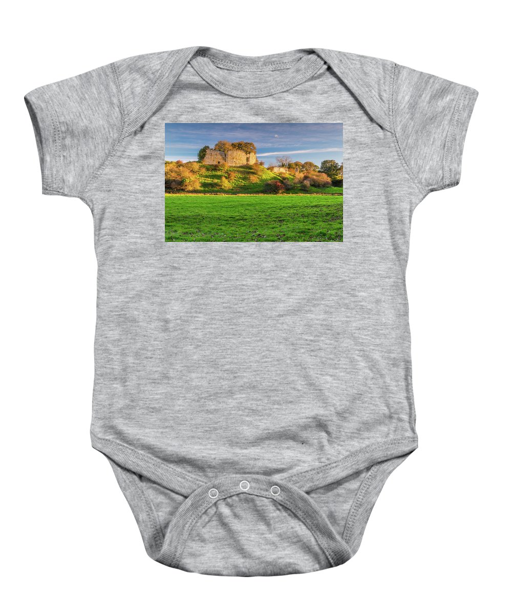 Northumberland Baby Onesie featuring the photograph Mitford Castle Beside River Wansbeck by David Head
