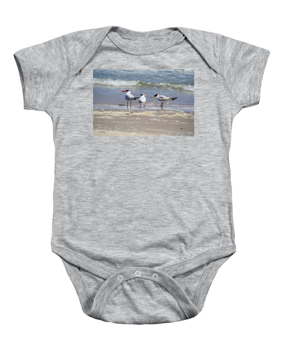 Roena King Baby Onesie featuring the photograph Moe And Larry And Curlie by Roena King