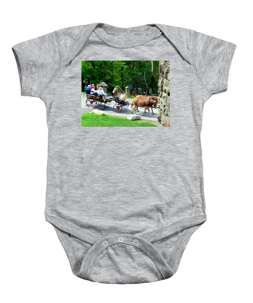 Photo Painting Baby Onesie featuring the digital art Mohonk Carriage Tour by Ed Weidman