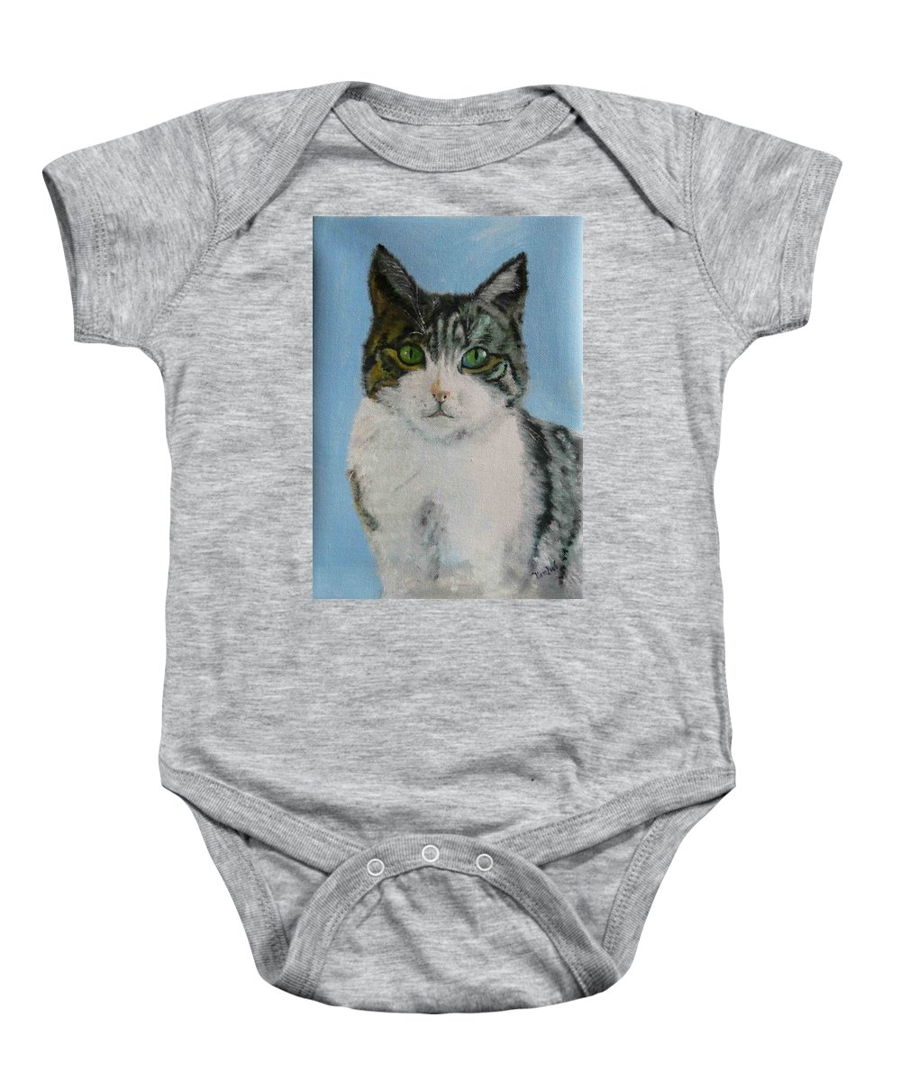 Tomcat Baby Onesie featuring the painting Momo by Helmut Rottler