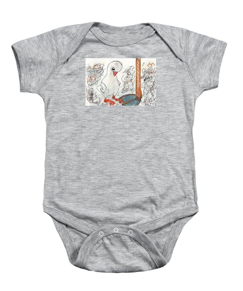 Duck Baby Onesie featuring the painting Duckling At Mom's Feet by Janet K Wilcox