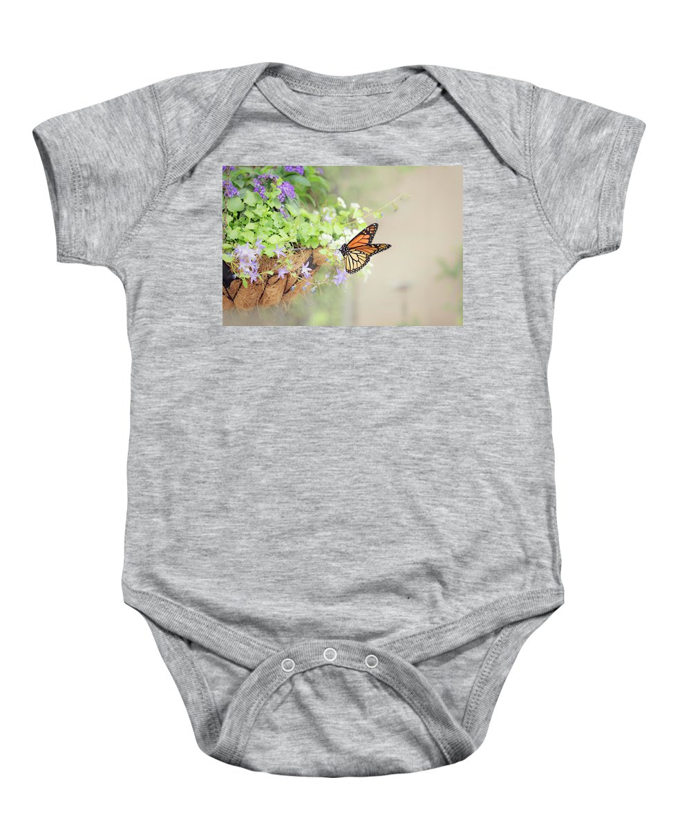 Flowers Baby Onesie featuring the photograph Monarch And Garden Basket by Susan Gary