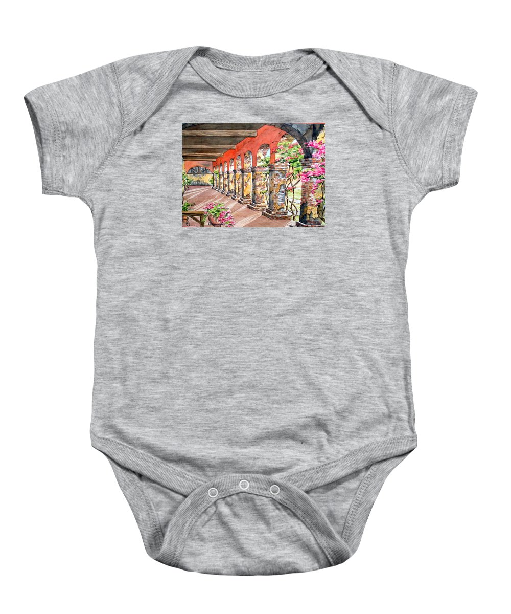 Landscape Baby Onesie featuring the painting Monasterio by Tatiana Escobar