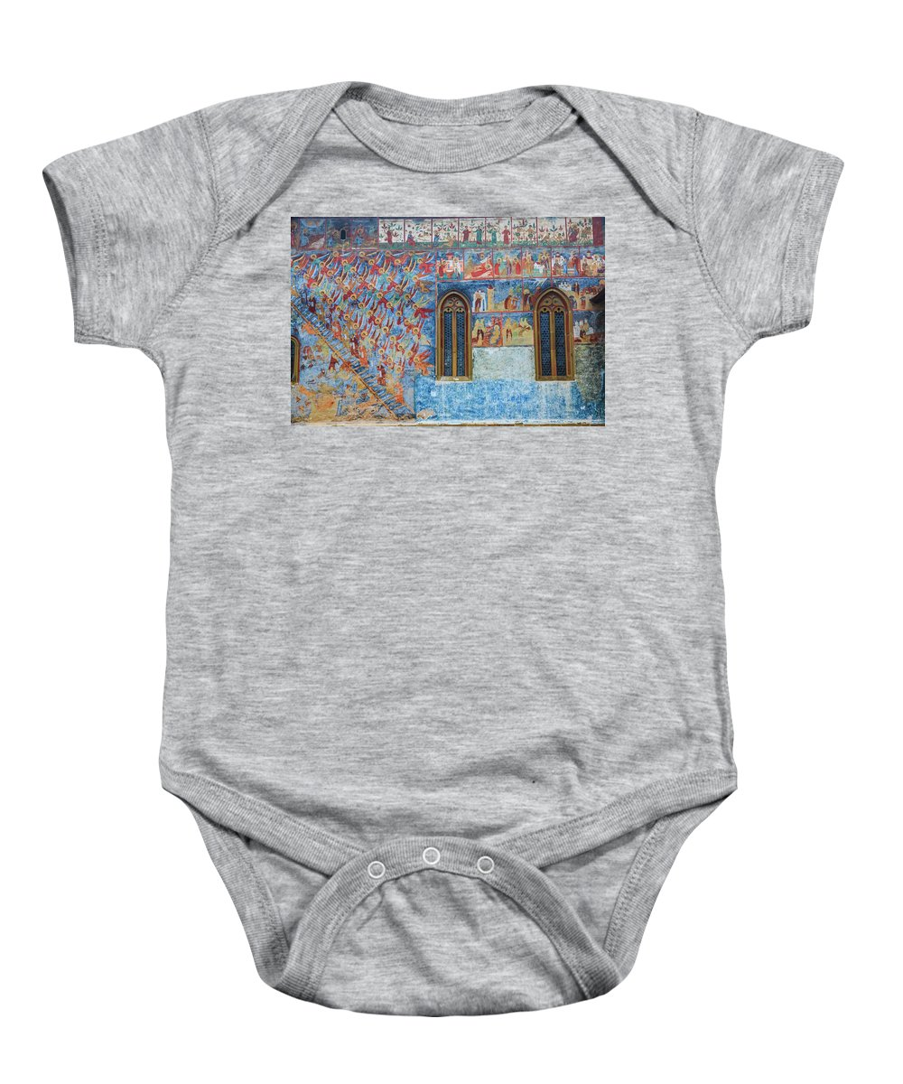 Bucovina Baby Onesie featuring the photograph Monastery Angels by Emily M Wilson