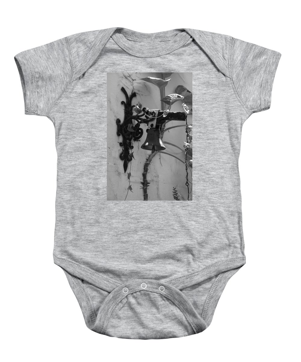 Black And White Baby Onesie featuring the photograph Monastery Bell by Rob Hans