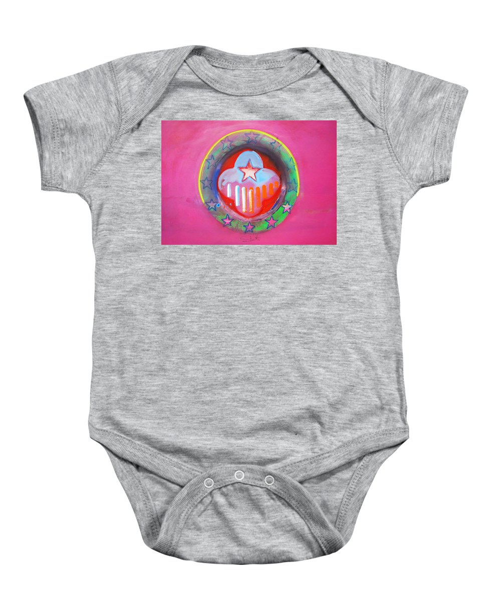 Symbol Baby Onesie featuring the painting Monetary Union by Charles Stuart