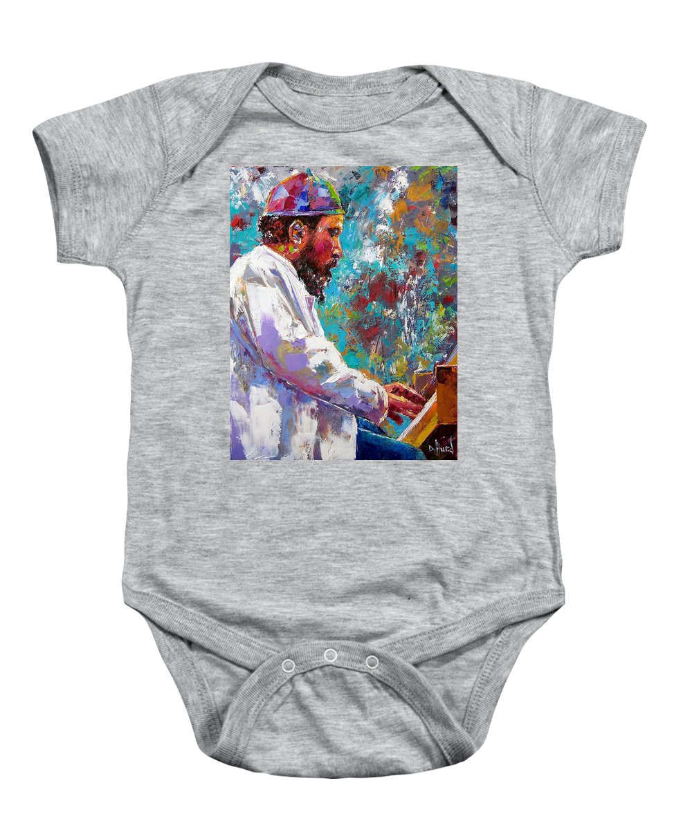 Thelonious Monk Art Baby Onesie featuring the painting Monk Live by Debra Hurd