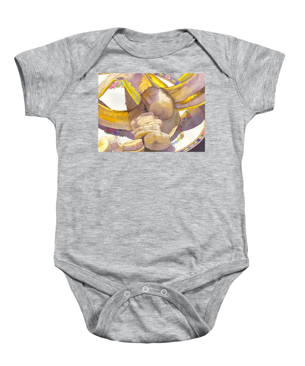 Banana Baby Onesie featuring the painting Monkey Bait by Catherine G McElroy