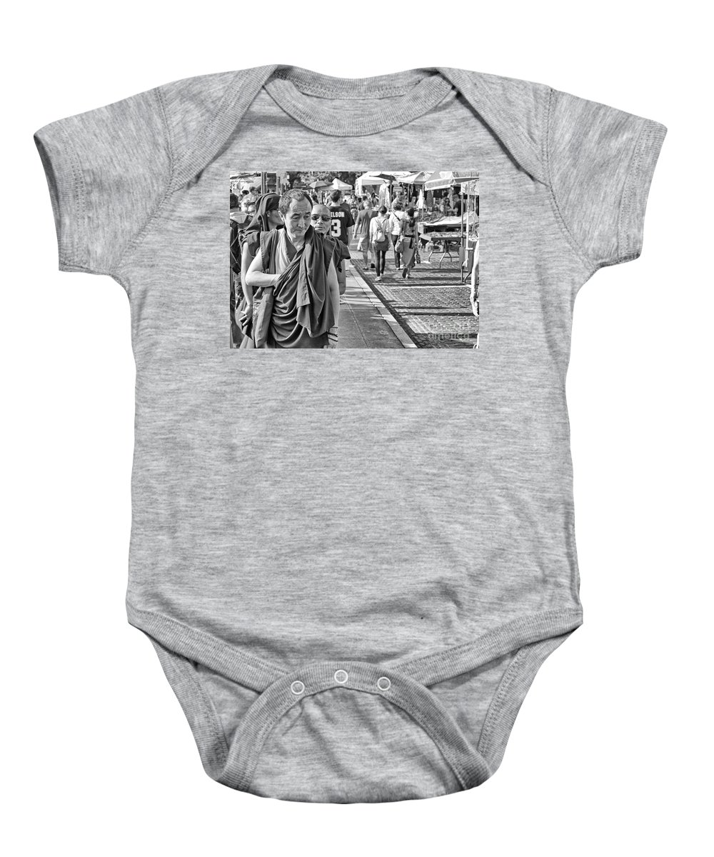 Monk Baby Onesie featuring the photograph Monks Out And About by Paul Fell