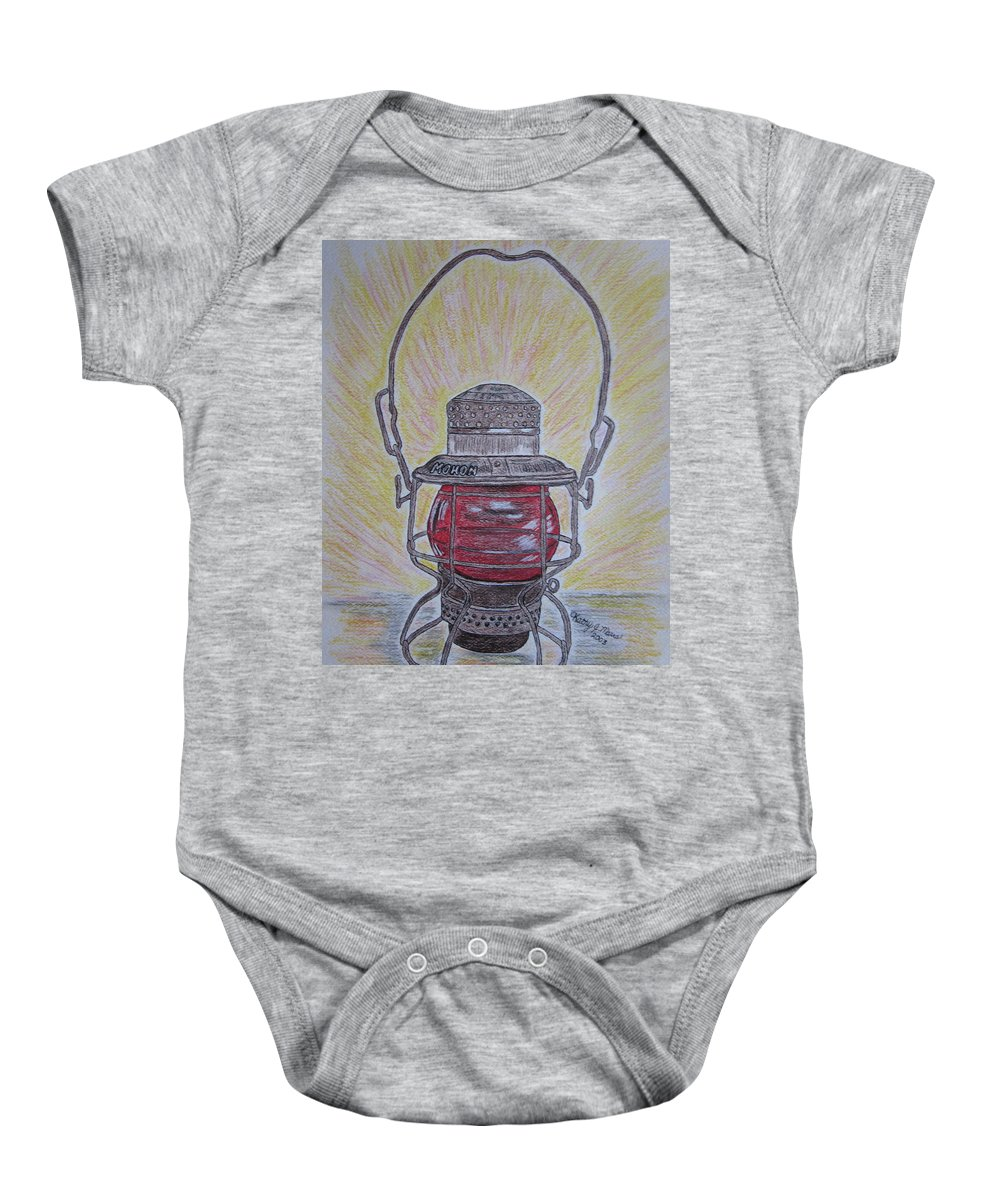 Monon Baby Onesie featuring the painting Monon Red Globe Railroad Lantern by Kathy Marrs Chandler