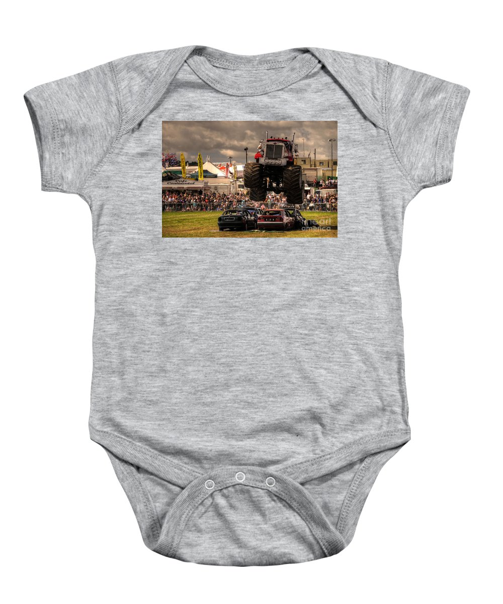 Monster Baby Onesie featuring the photograph Monster Truck Destruction by Rob Hawkins