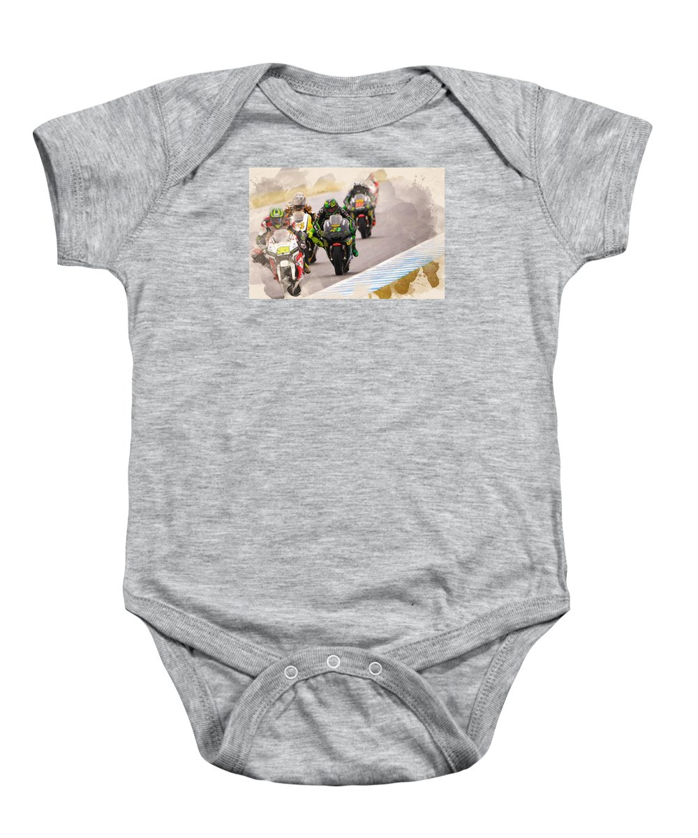 Formula 1 Baby Onesie featuring the digital art Monster Yamaha Tech 3, by Don Kuing