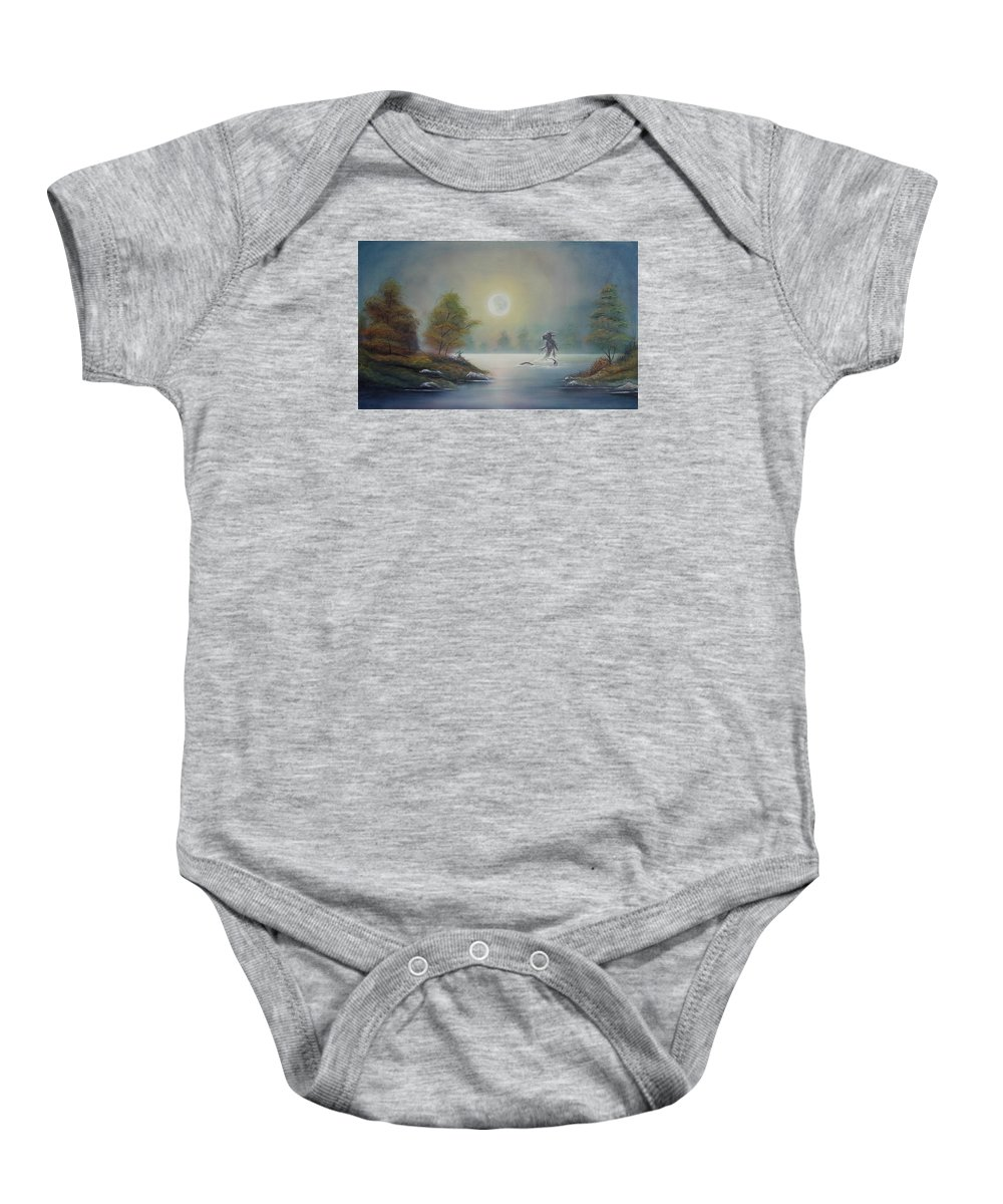 Landscape Baby Onesie featuring the painting Monstruo Ness by Angel Ortiz