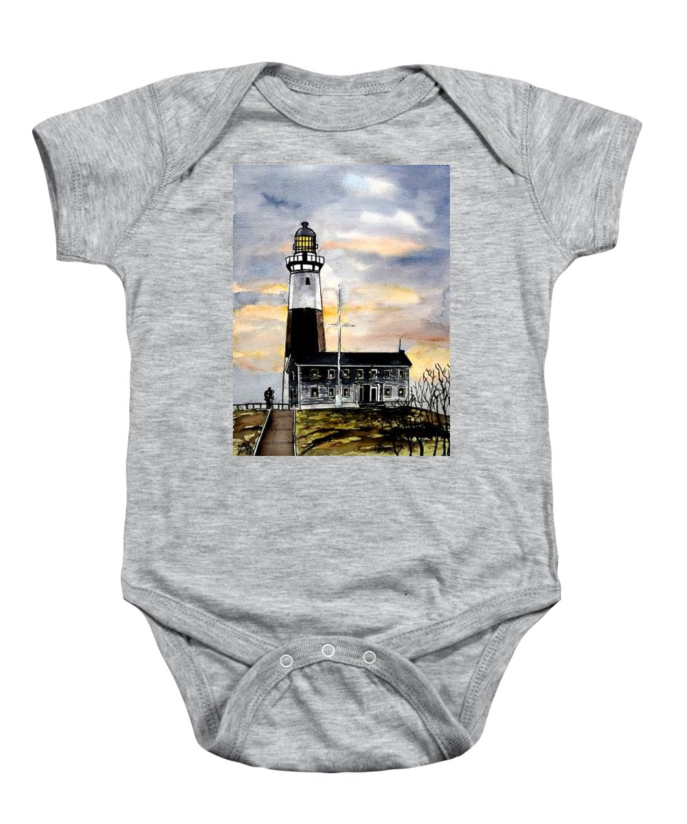 Montauk Point Baby Onesie featuring the painting Montauk Point Lighthouse by Derek Mccrea