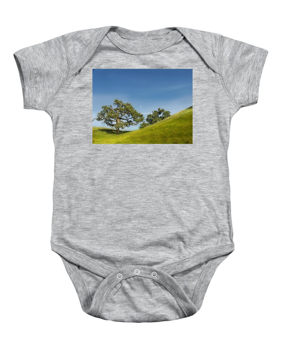 Landscape Baby Onesie featuring the photograph Moon Rising by Karen W Meyer