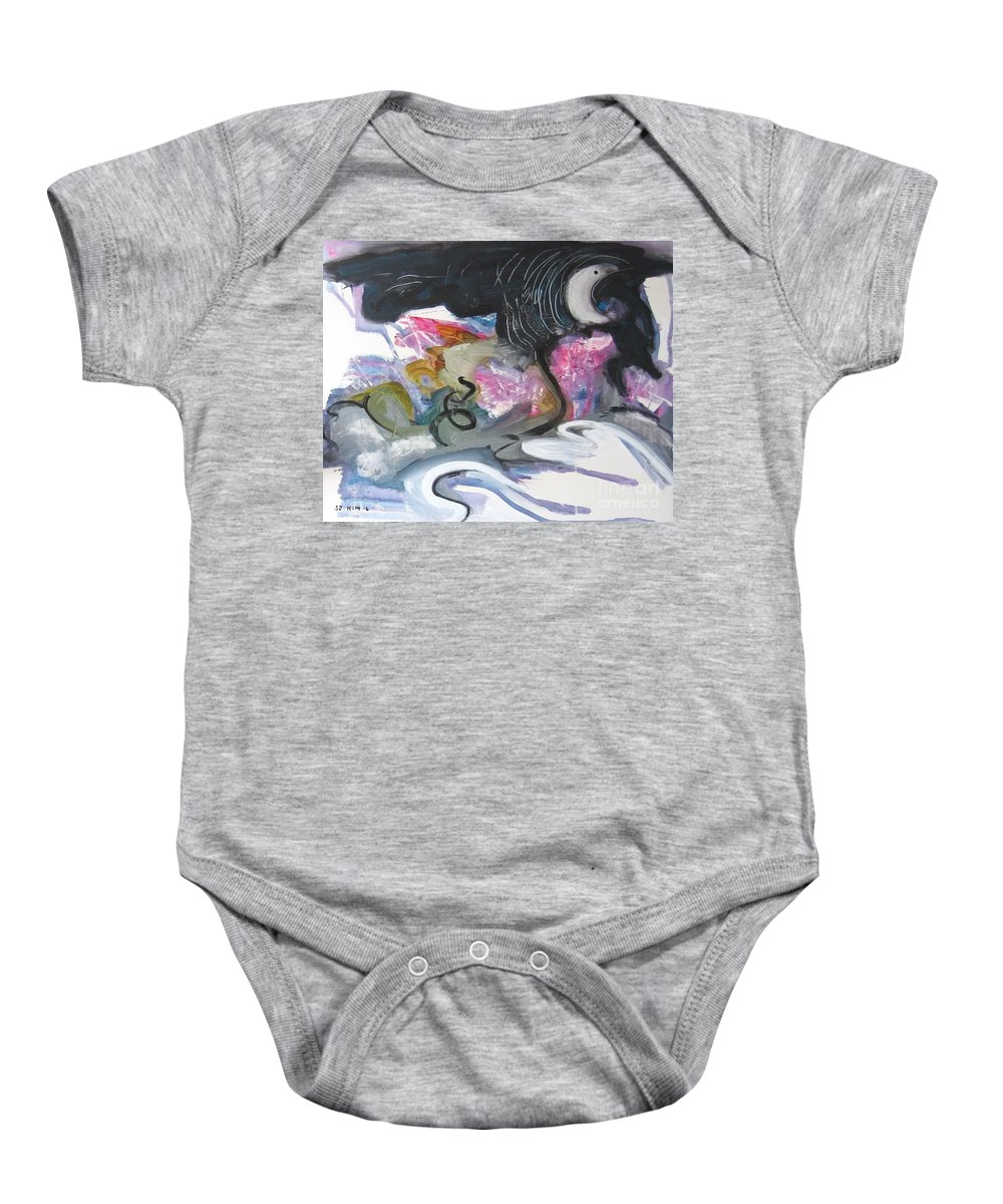 Abstract Paintings Baby Onesie featuring the painting Moonlight Fever by Seon-Jeong Kim
