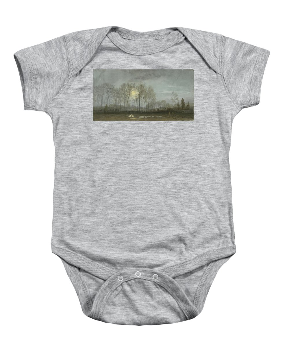 William Baby Onesie featuring the painting Moonlit Landscape by William Trost Richards