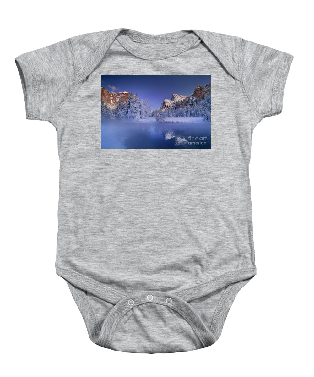 North America Baby Onesie featuring the photograph Moonrise Over Gates Of The Valley Yosemite National Park by Dave Welling