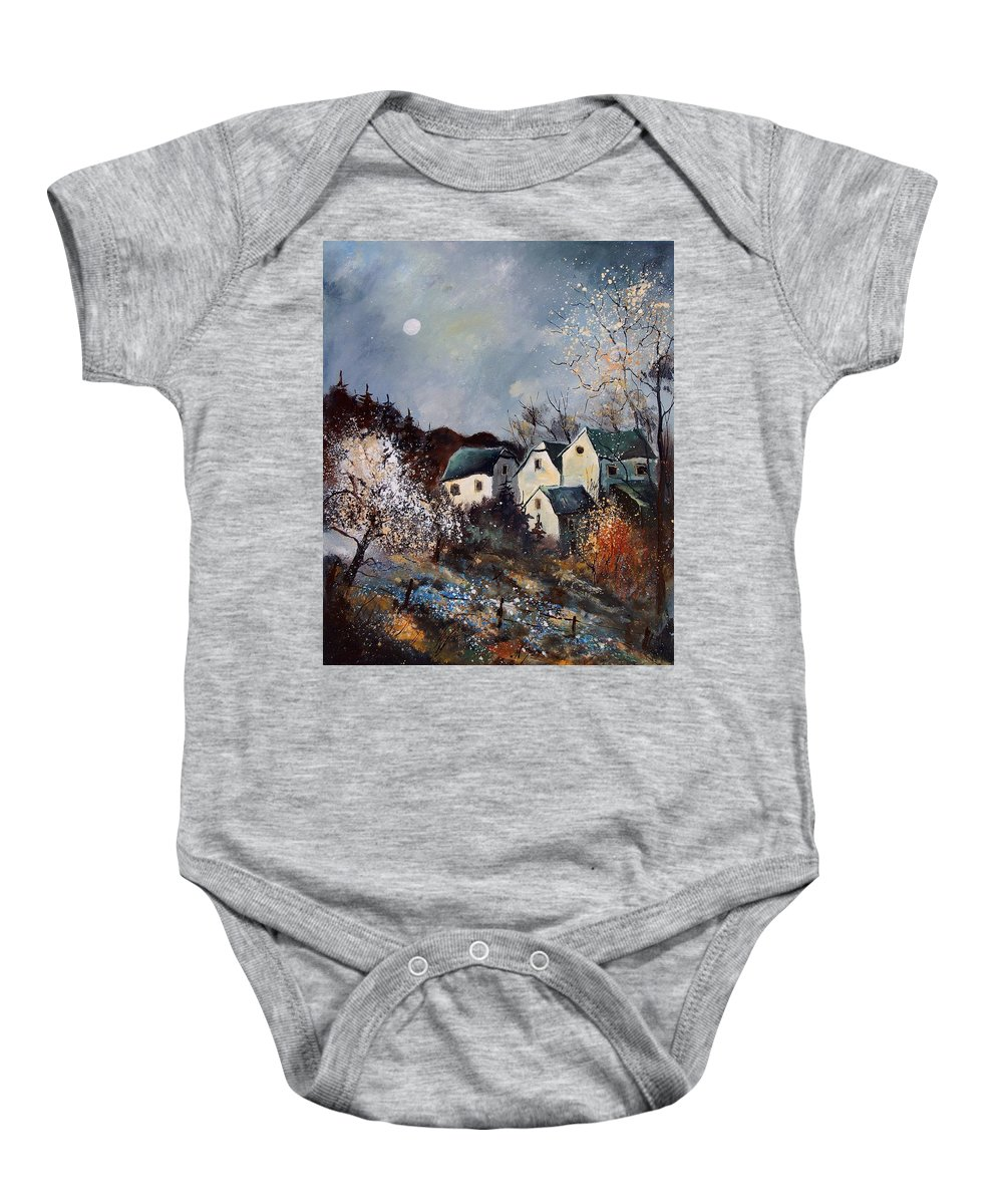 Village Baby Onesie featuring the painting Moonshine by Pol Ledent