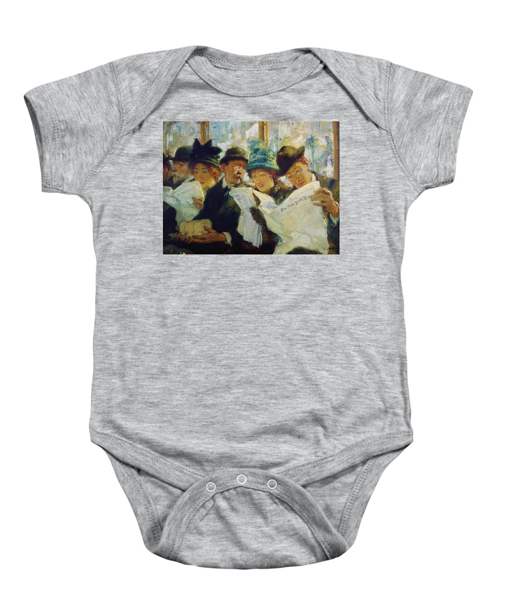 1912 Baby Onesie featuring the painting Mora Morning News C1912 by Granger