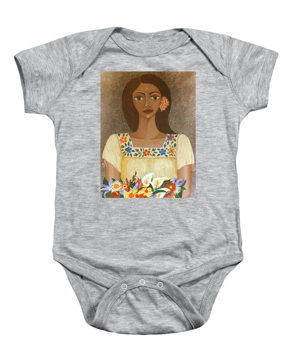 Oil Baby Onesie featuring the painting More Than Flowers She Sold Illusions by Madalena Lobao-Tello