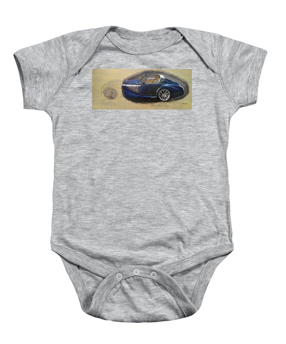 Cars Baby Onesie featuring the painting Morgan Aero by Richard Le Page
