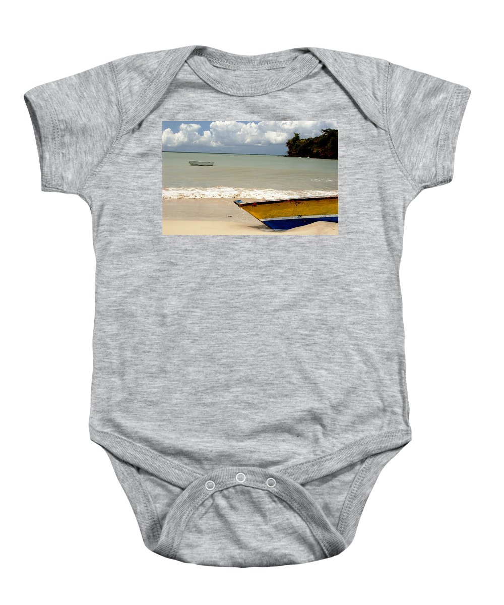 Boat Baby Onesie featuring the photograph Morne Rouge Boats by Jean Macaluso