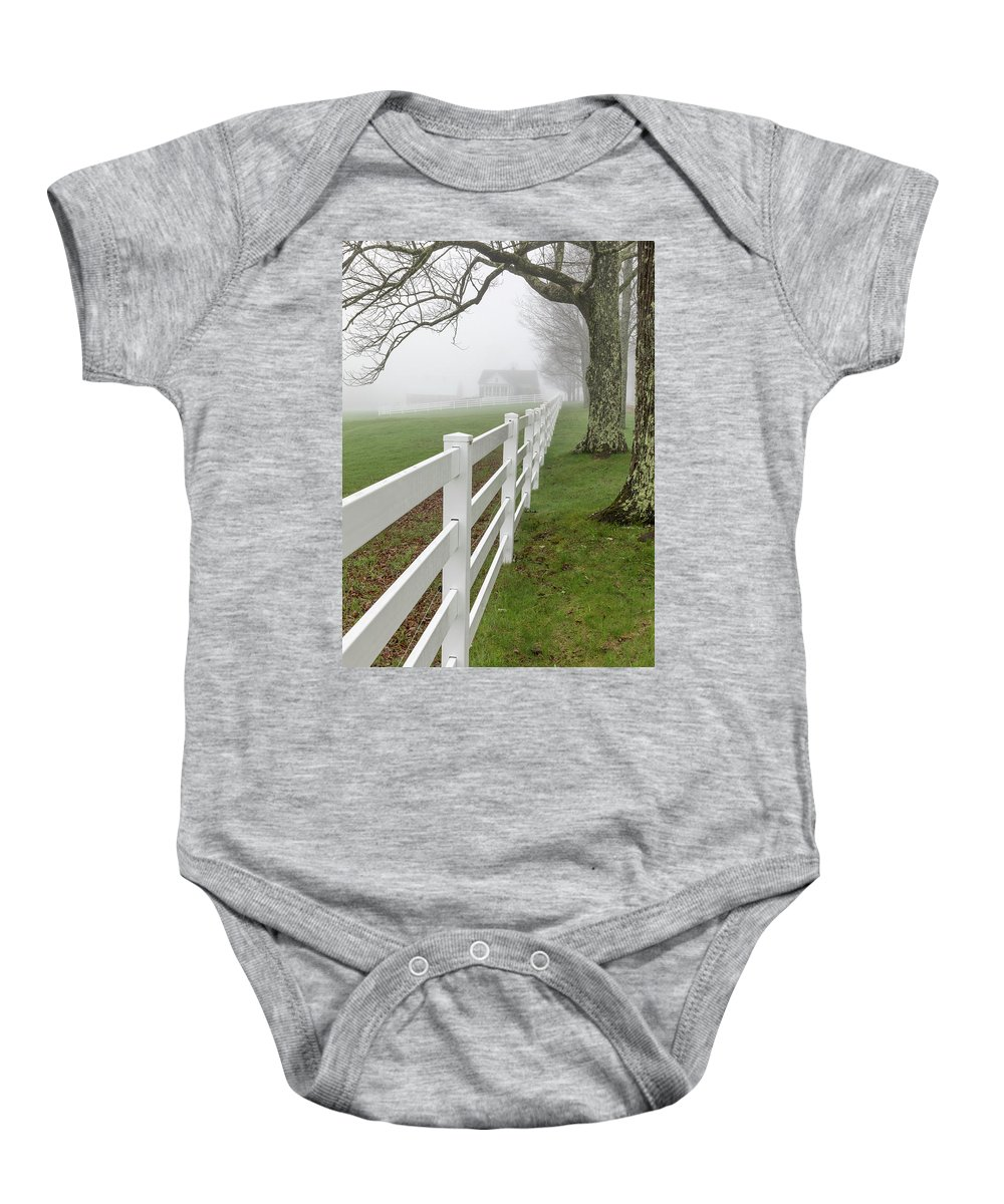 Maine Baby Onesie featuring the photograph Morning Fog by Colin Chase