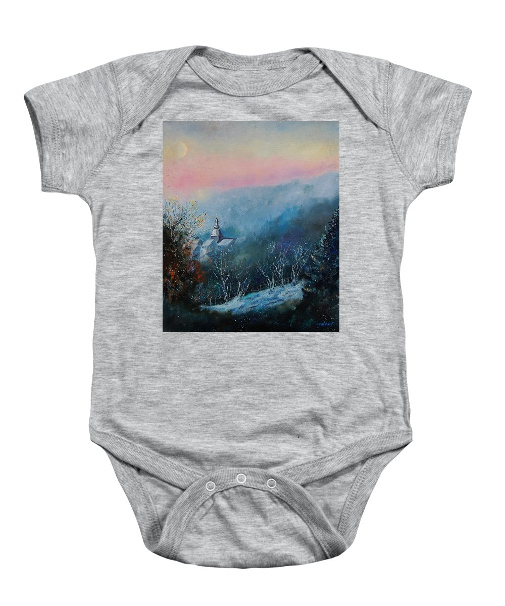 Winter Baby Onesie featuring the painting Morning Frost by Pol Ledent