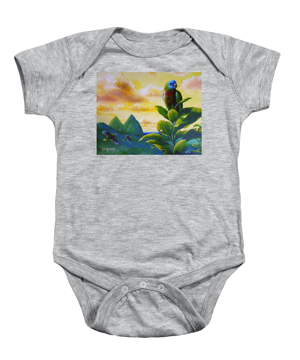Chris Cox Baby Onesie featuring the painting Morning Glory - St. Lucia Parrots by Christopher Cox