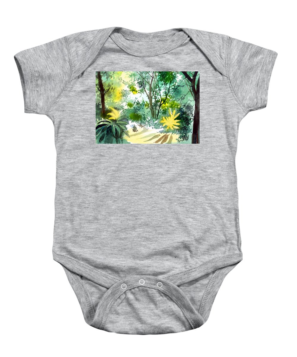 Landscape Baby Onesie featuring the painting Morning Glory by Anil Nene