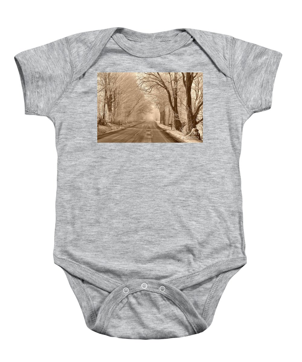 Winter Baby Onesie featuring the photograph Morning Ice And Fog by Deborah Benoit