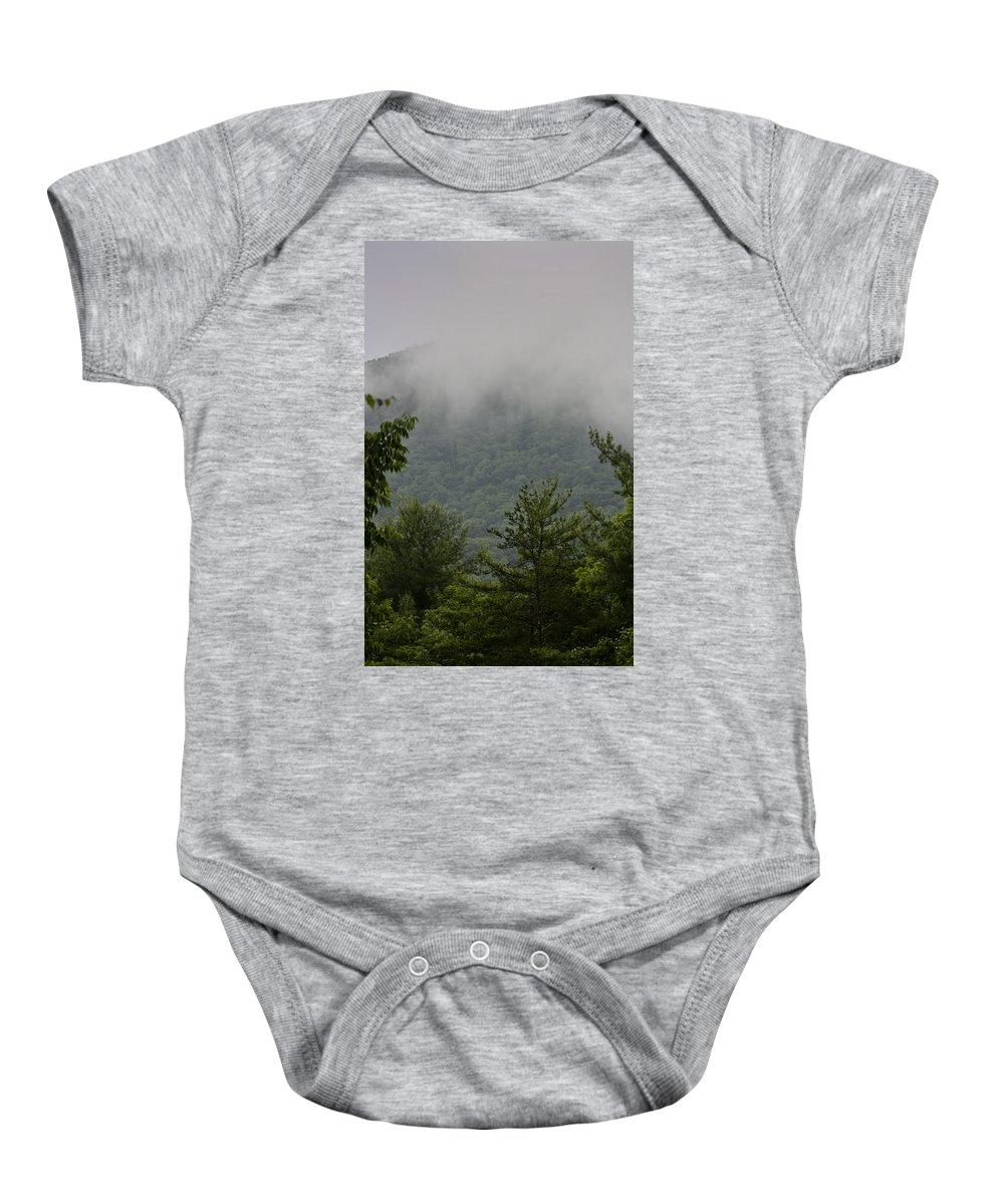 Bluestone Baby Onesie featuring the photograph Morning Mist Bluestone State Park West Virginia by Teresa Mucha