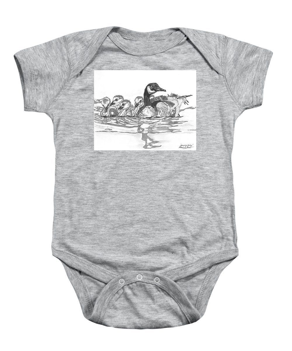 Baby Onesie featuring the painting Morning Outing by Dancing Pines Artworks