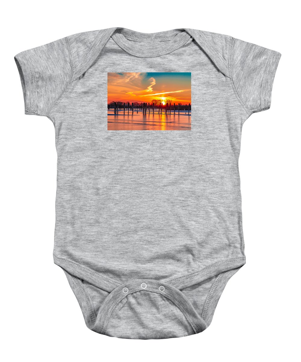 Lake Baby Onesie featuring the photograph Morning Pier by Scott McKay