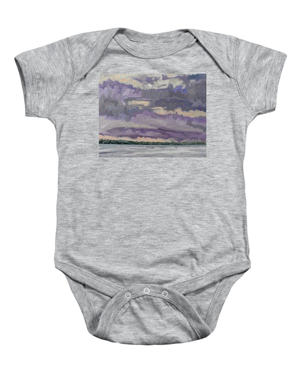 Shower Baby Onesie featuring the painting Morning Rain Clouds by Phil Chadwick