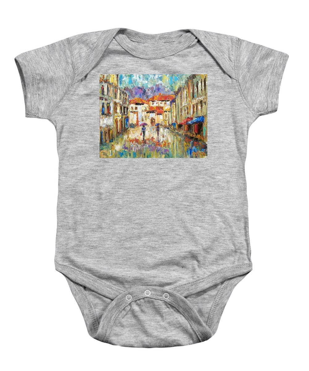 Landscape Baby Onesie featuring the painting Morning Rain by Debra Hurd