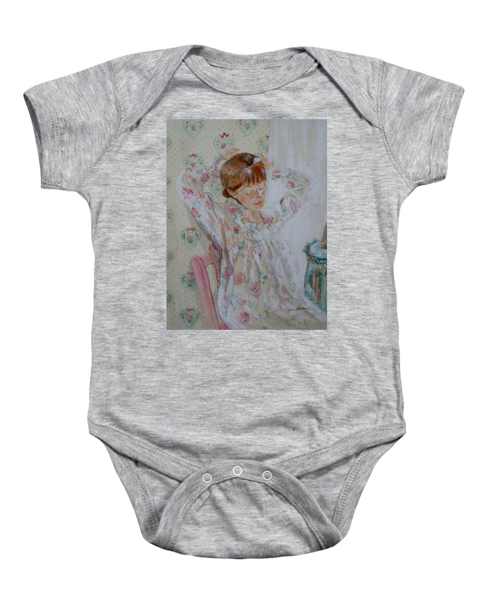 Morning Baby Onesie featuring the painting Morning Ritual by Jean Blackmer