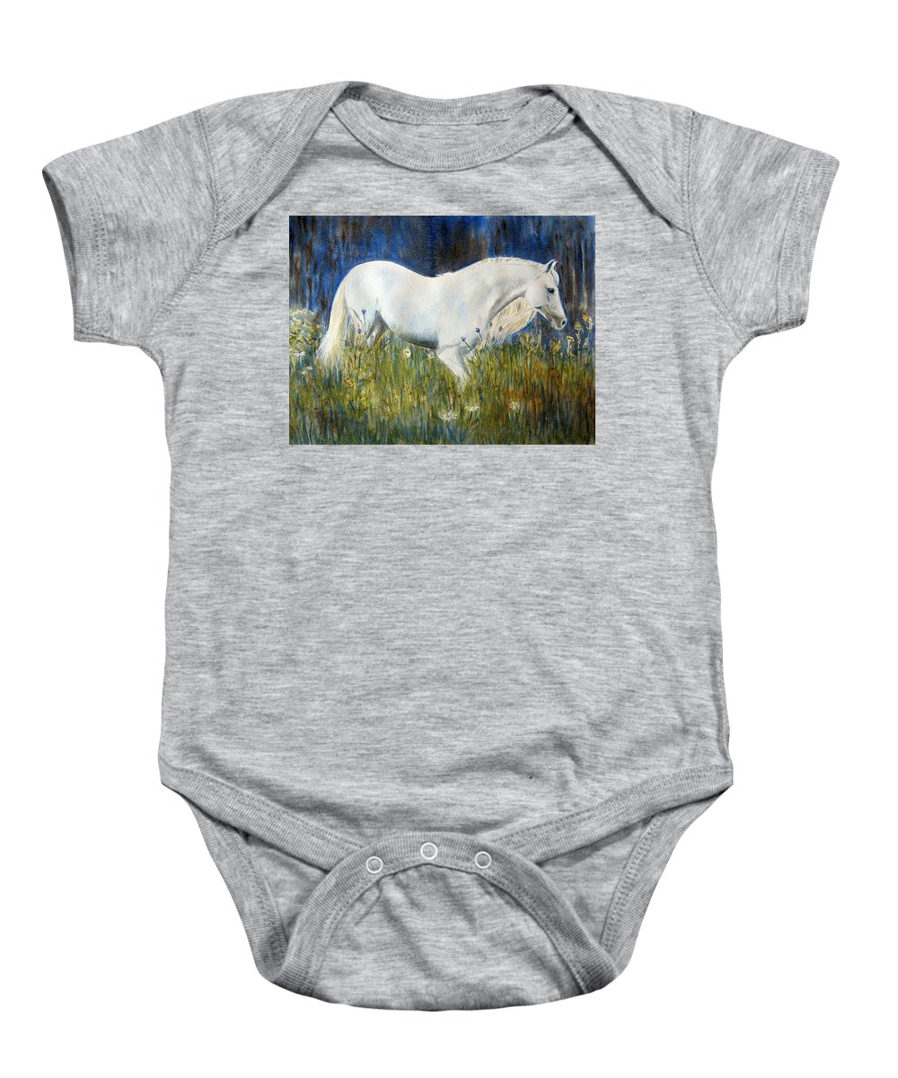 Horse Painting Baby Onesie featuring the painting Morning Walk by Frances Gillotti