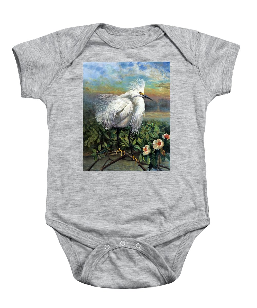 Landscape Baby Onesie featuring the painting Morning Watch by Edward Skallberg