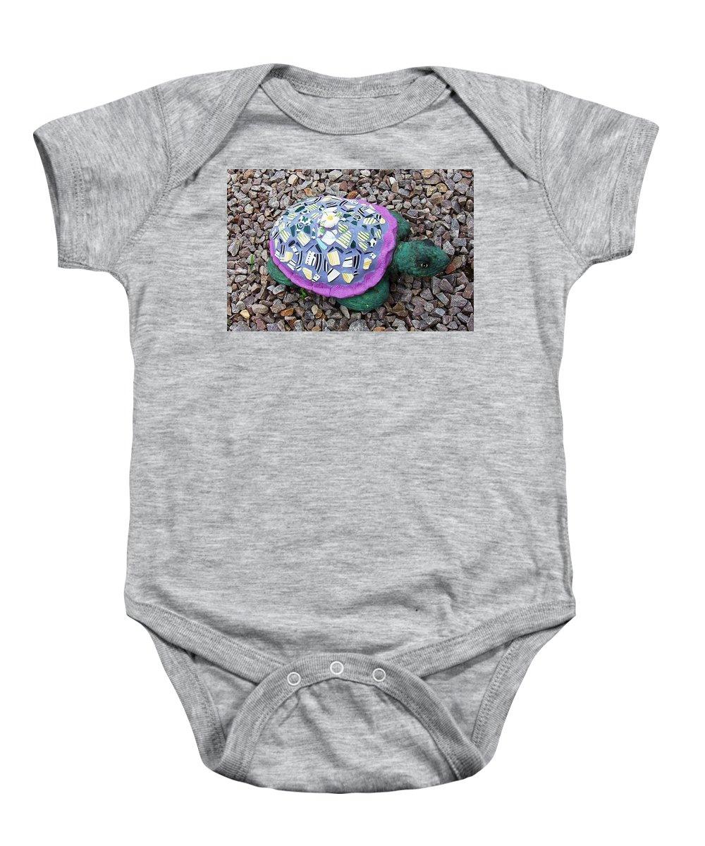 Mosaic Baby Onesie featuring the ceramic art Mosaic Turtle by Jamie Frier