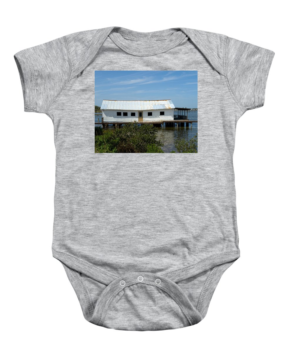 Florida; Oak; Hill; Mosquito; Lagoon; Old; Abandoned; Fish; House; Processing; Dock; Pier; Wharf; Bo Baby Onesie featuring the photograph Mosquito Lagoon Florida by Allan Hughes